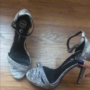 Jeffrey Campbell snakeskin strappy heels 6
